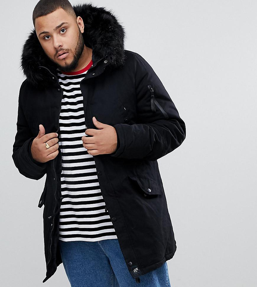dc096ca2a9bce Sixth June Parka Coat In Black With Black Faux Fur Hood in Black for ...