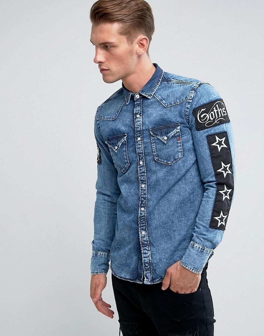 Lyst Replay Regular Fit Patches Denim Shirt In Blue For Men
