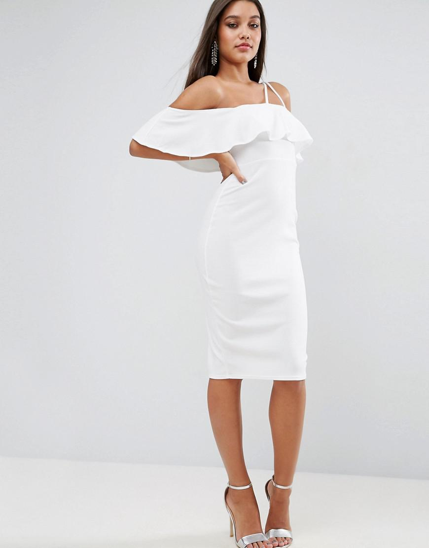 cb43880620 Lyst - ASOS Textured Ruffle Off Shoulder Double Strap Midi Dress in ...