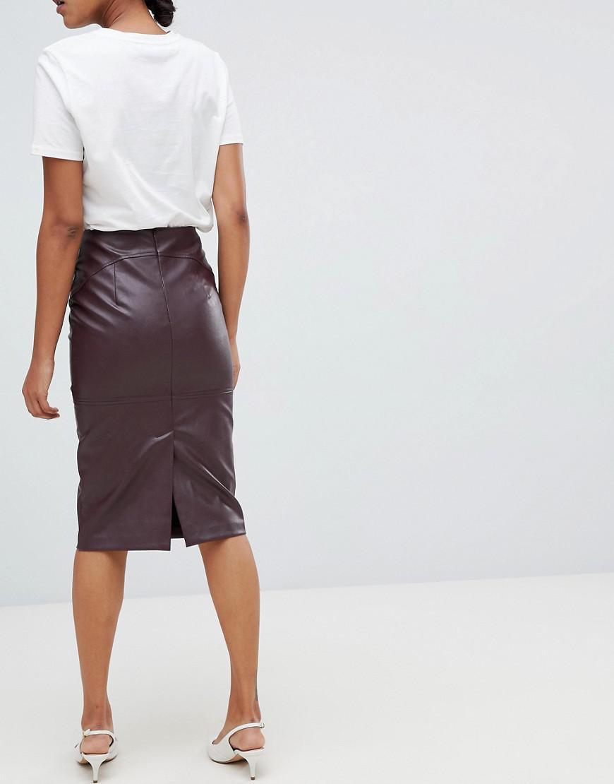 94bfb86127 Whistles Kel Leather Pencil Skirt Burgundy | Saddha