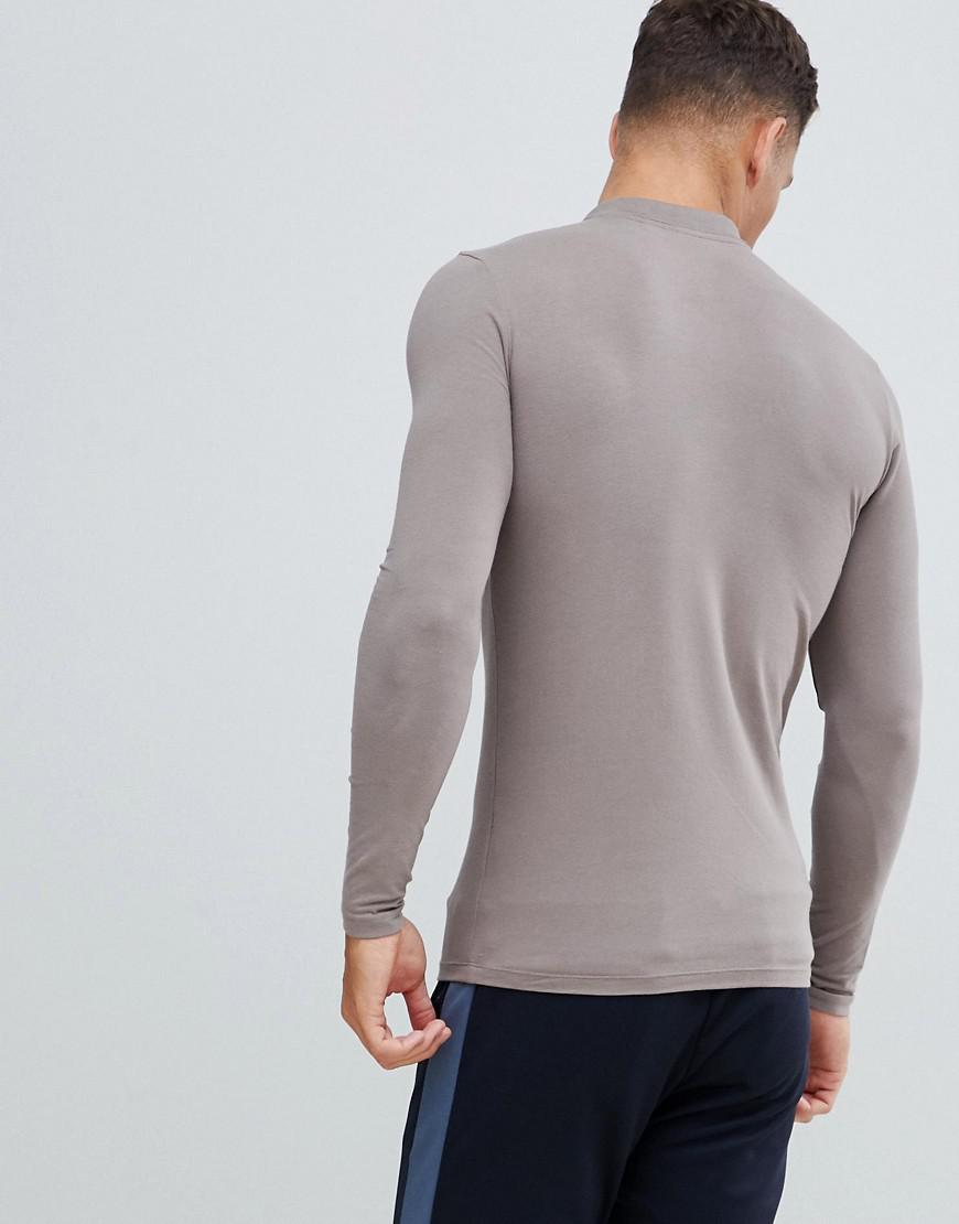 ae0fad66 Lyst - ASOS Muscle Fit Long Sleeve Polo In Jersey In Beige in Natural for  Men