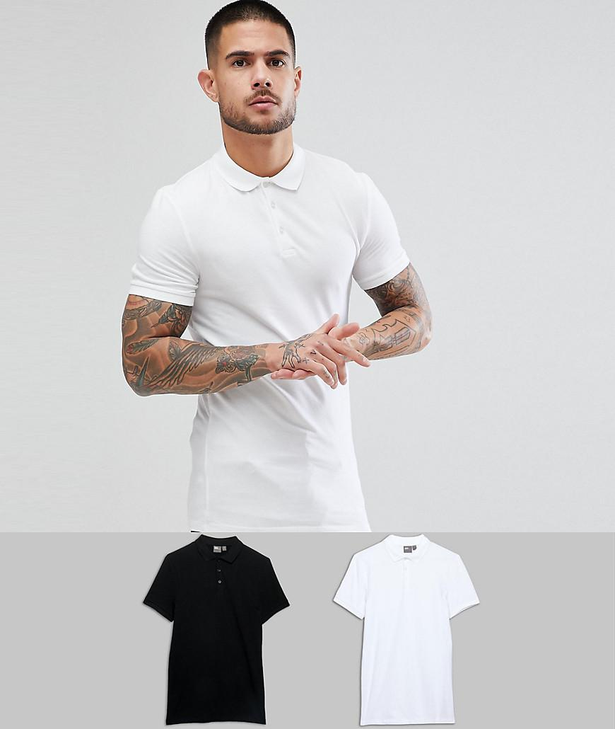 199273b20 Lyst - ASOS Muscle Fit Jersey Polo 2 Pack Save in White for Men