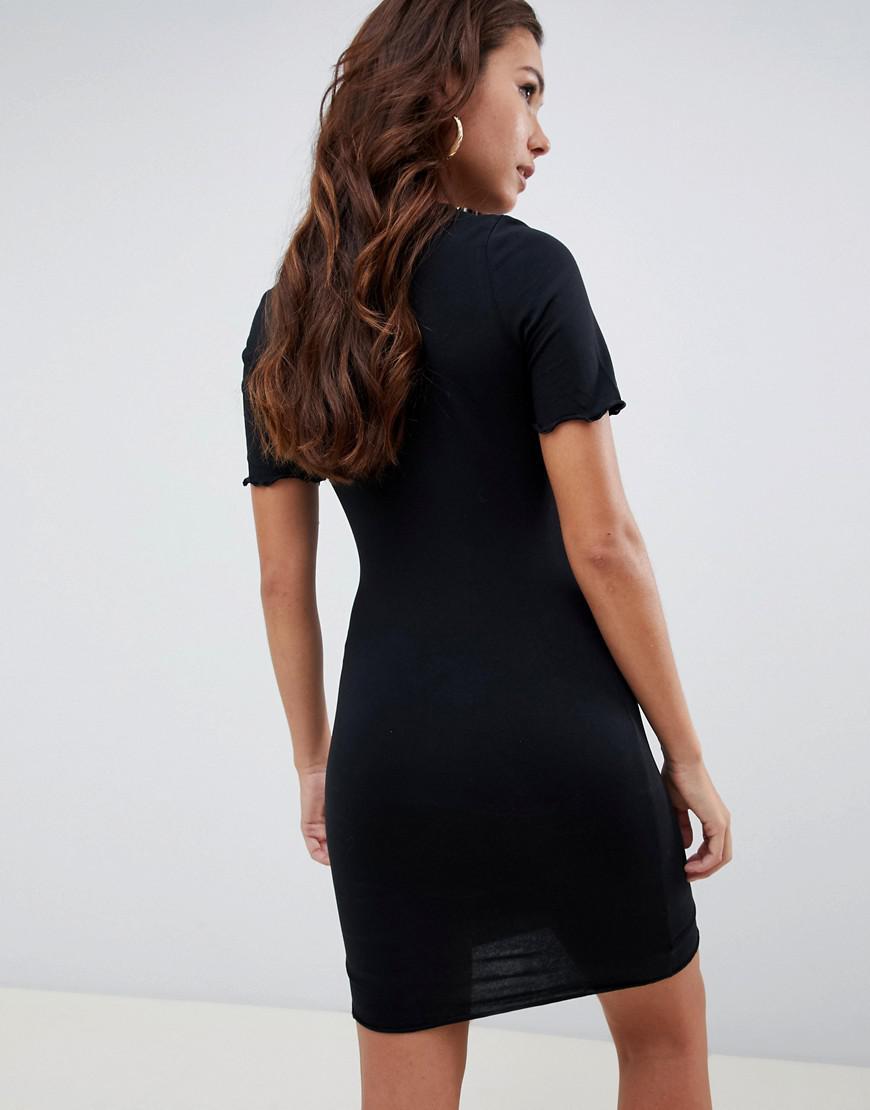 8397fe8571e Lyst - ASOS Mini T-shirt Dress With Zip Neck in Black
