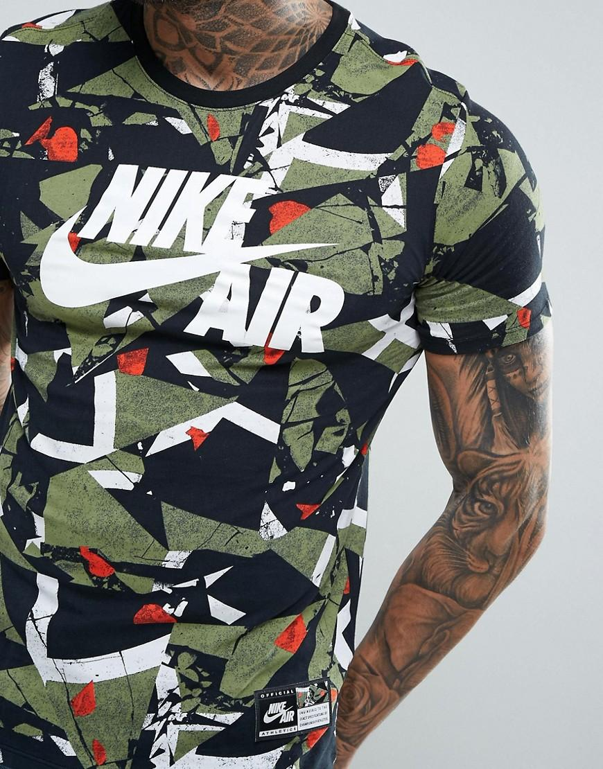 Nike Air T shirt With Camo Print In Green 834575 102 in