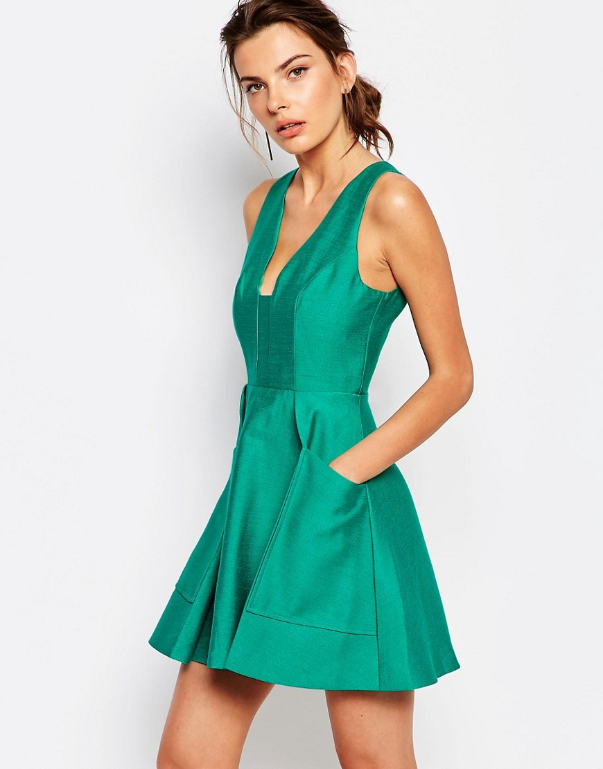 Lyst - C/Meo Collective Nights Dress With Plunge Neck in Green