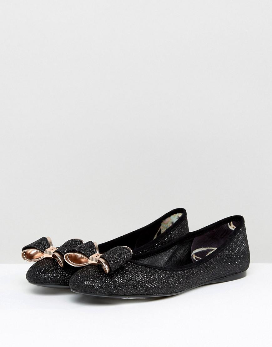 df7667dfc Ted Baker Immet Black Sparkling Ballet Flats in Black - Lyst
