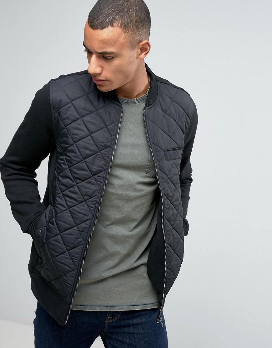Esprit Quilted Bomber Jacket With Jersey Sleeves In Black