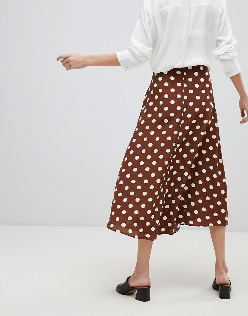 Lyst Mango Polka Dot Midi Skirt In Brown
