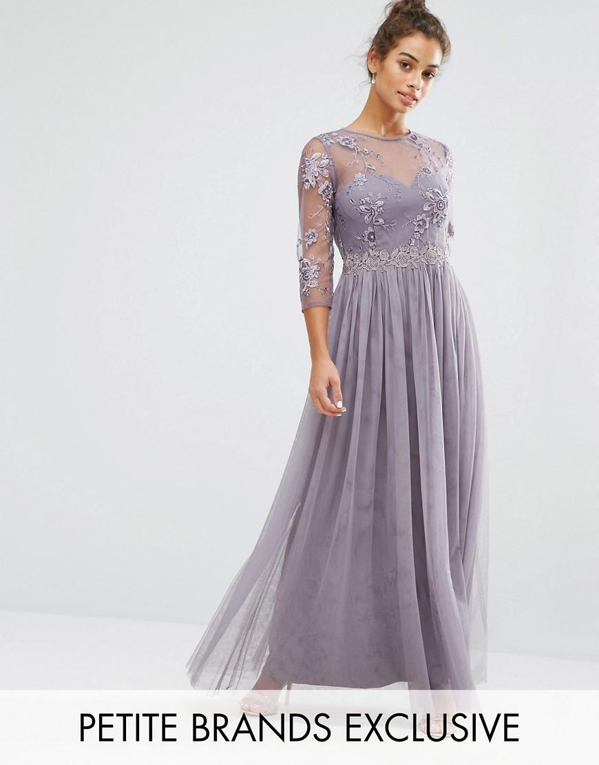 0ab85fe369d15e Little Mistress Premium Embroidered Maxi Dress With Pleated Skirt in ...