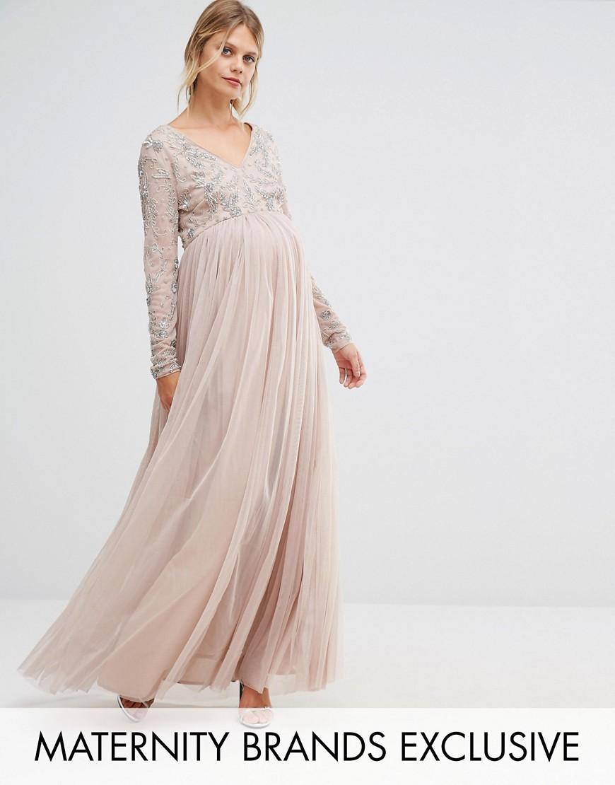 1e45f77388 Maya Maternity Long Sleeve Embellished Bodice Maxi Dress With Tulle ...