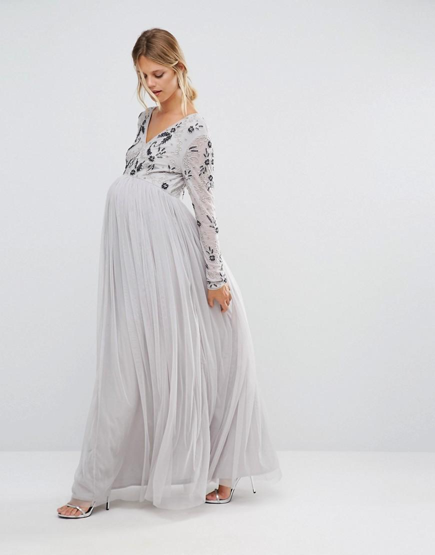 a5866ad481720 Maya Maternity Long Sleeve Embellished Bodice Maxi Dress With Tulle Skirt