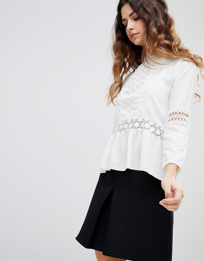 Zibi Pearl and Crochet Blouse - Cream Zibi London Discount Visit Cheap Collections kQoEW