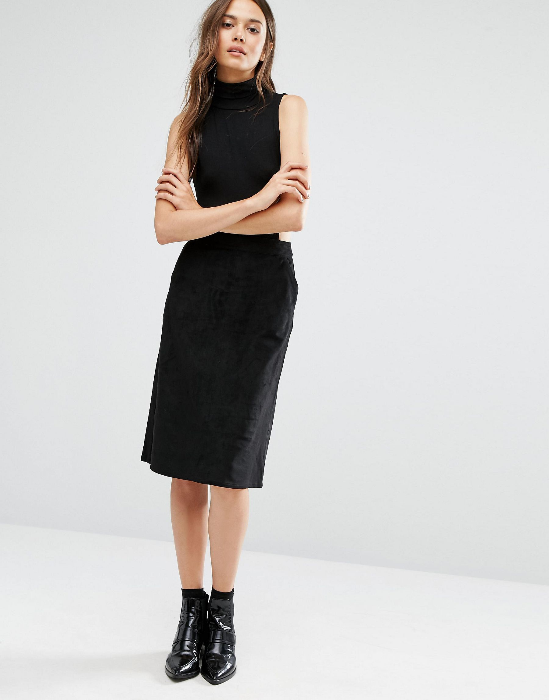 warehouse suedette midi skirt in black lyst