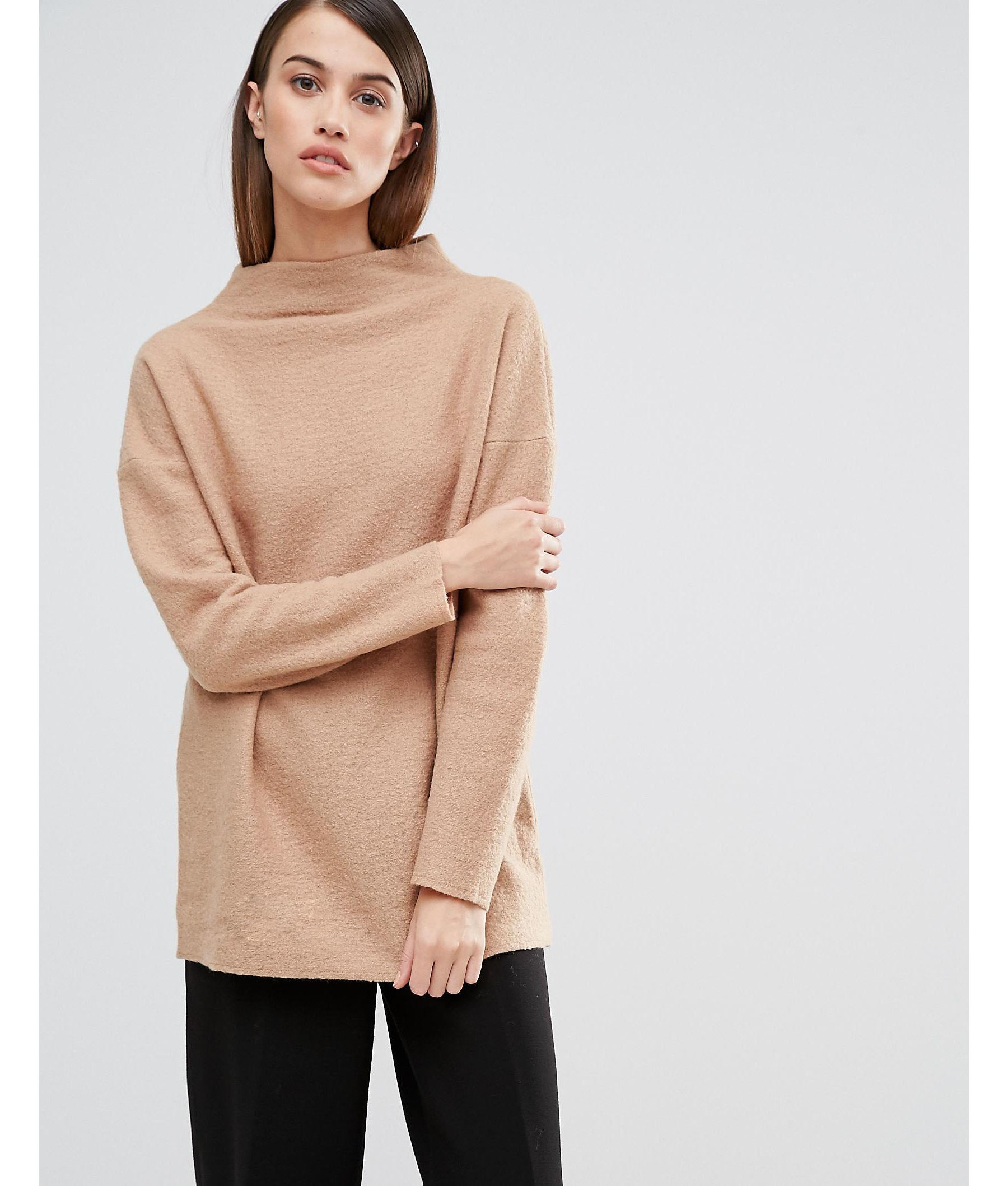 Lyst - SELECTED Elected Darla Funnel Neck Knitted Jumper in Natural 84c237ebe