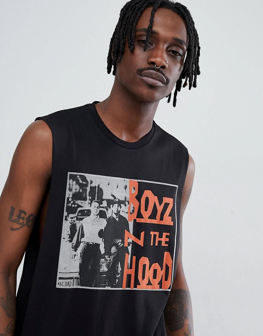 89264a4b93f63 ASOS. Men s Black Boys N The Hood Sleeveless T-shirt With Dropped Armhole