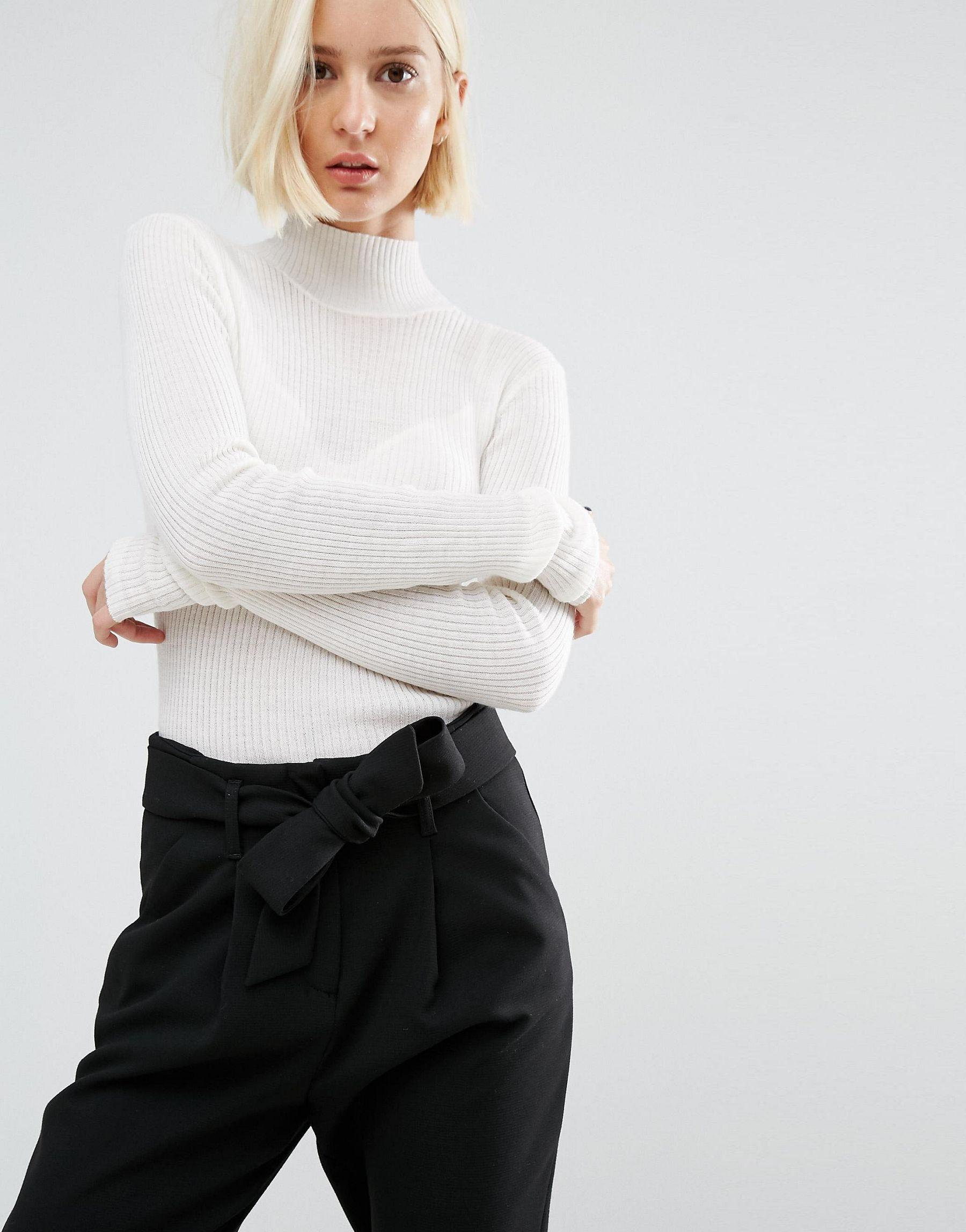 selected long sleeve knit rib turtleneck in white lyst