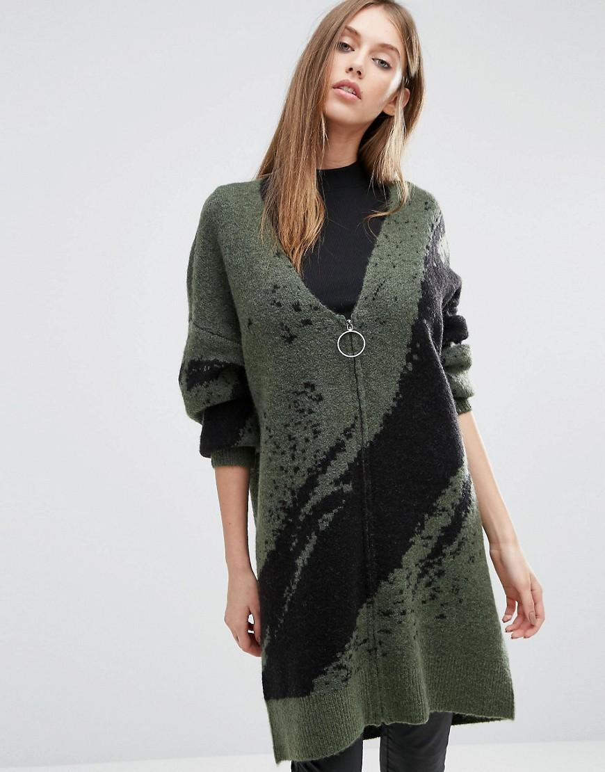 Selected Oversized Cardigan With Zip in Green