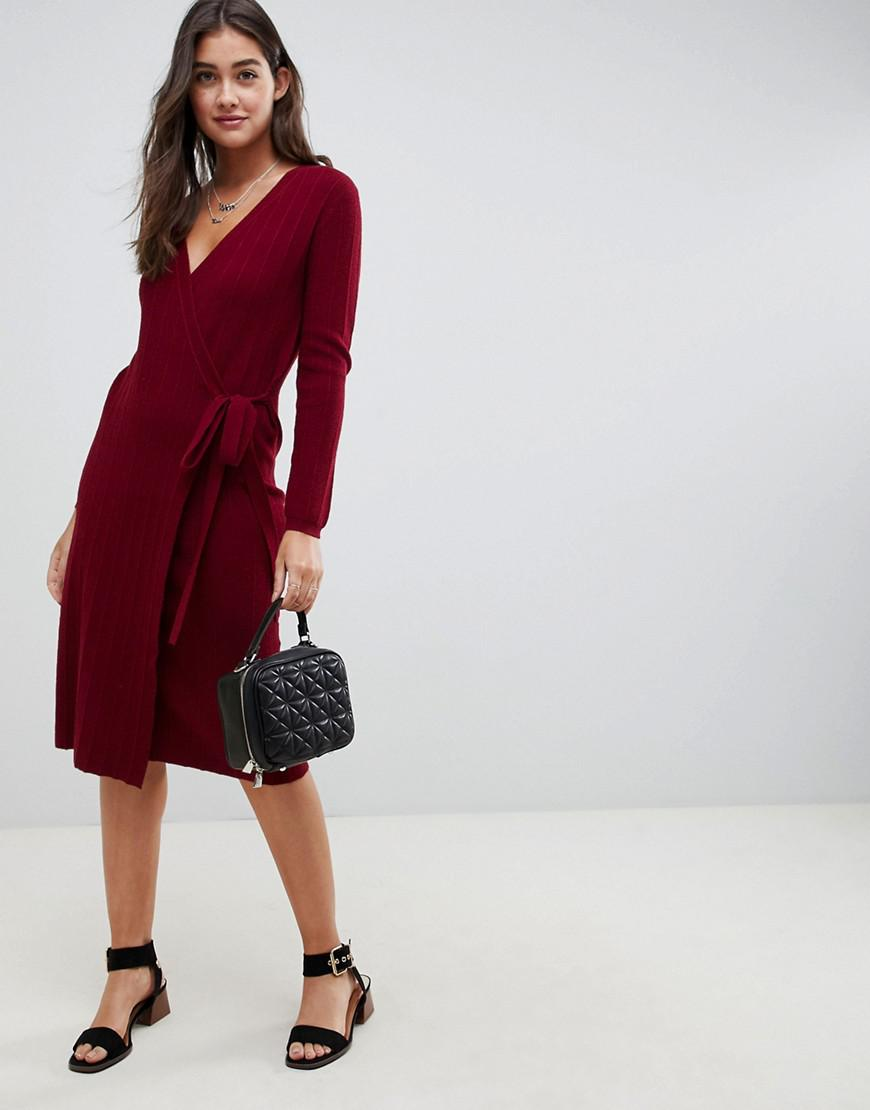 0c59f5d0498e Lyst - ASOS Knitted Midi Dress In Rib With Wrap in Red