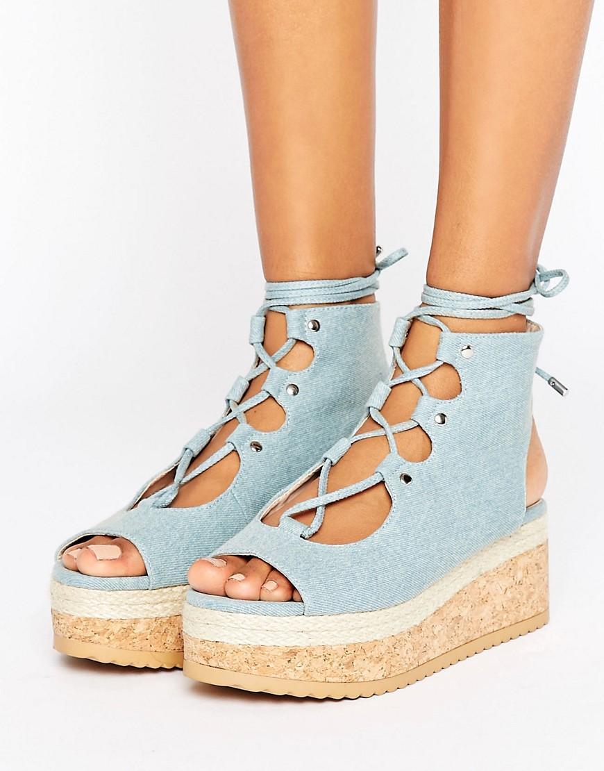 caffacee8b0d Lyst - KG by Kurt Geiger Kg Benny Denim Flatform Lace Up Sandal in Blue