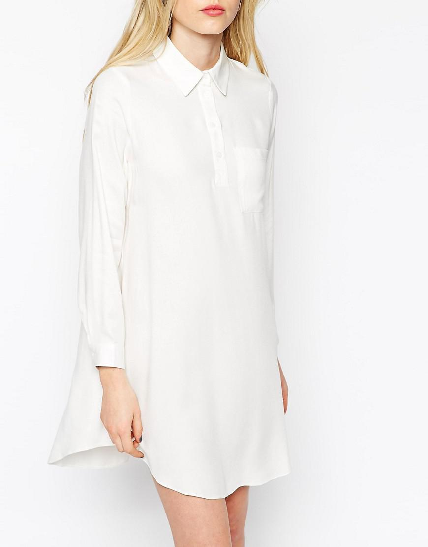 a976b8385290 Lyst - ASOS Swing Shirt Dress With Long Sleeve in White