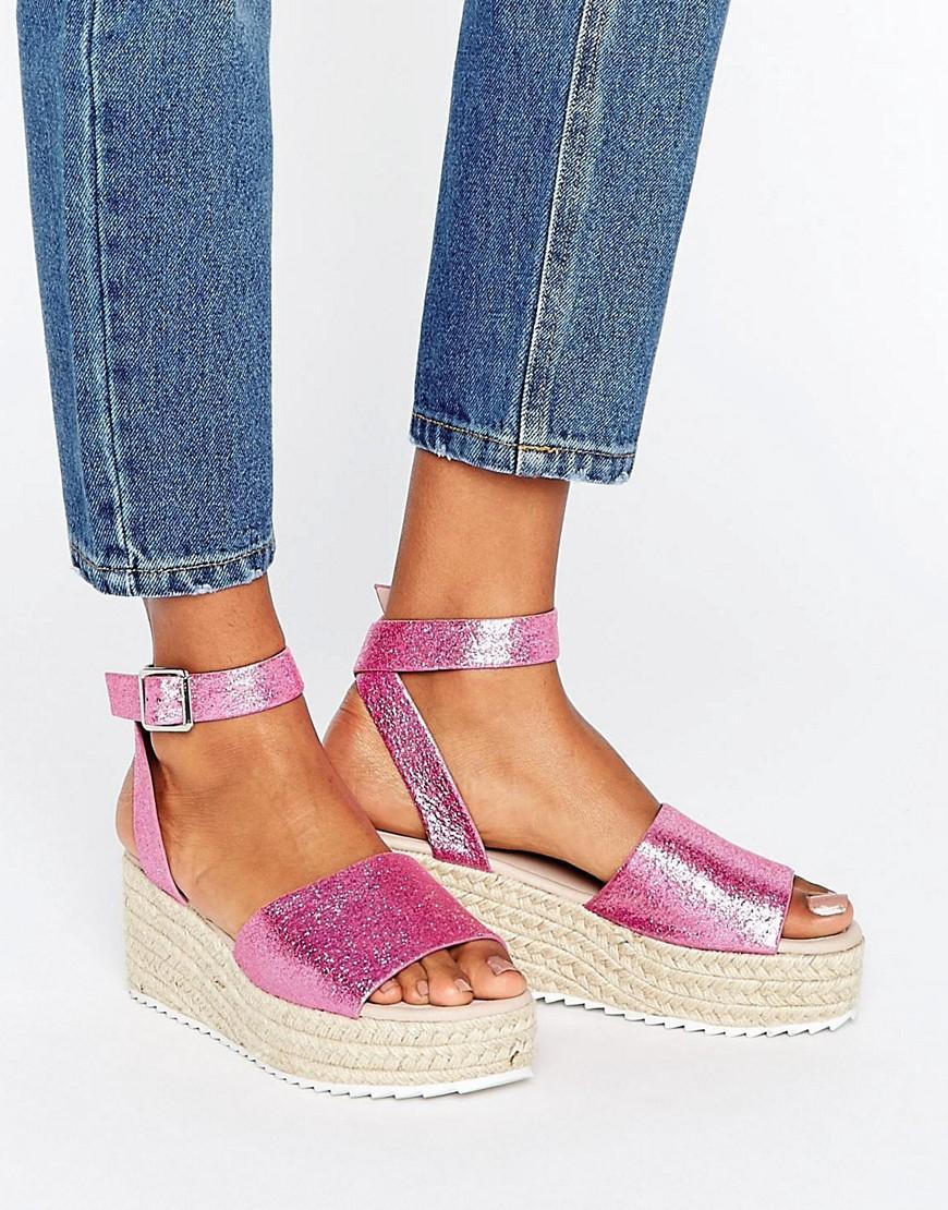 lyst asos take off wedge espadrille sandals in pink. Black Bedroom Furniture Sets. Home Design Ideas