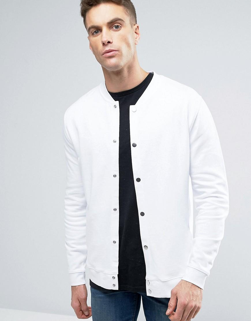 9f66bb77c9d ASOS Jersey Bomber Jacket With Snaps In White in White for Men - Lyst