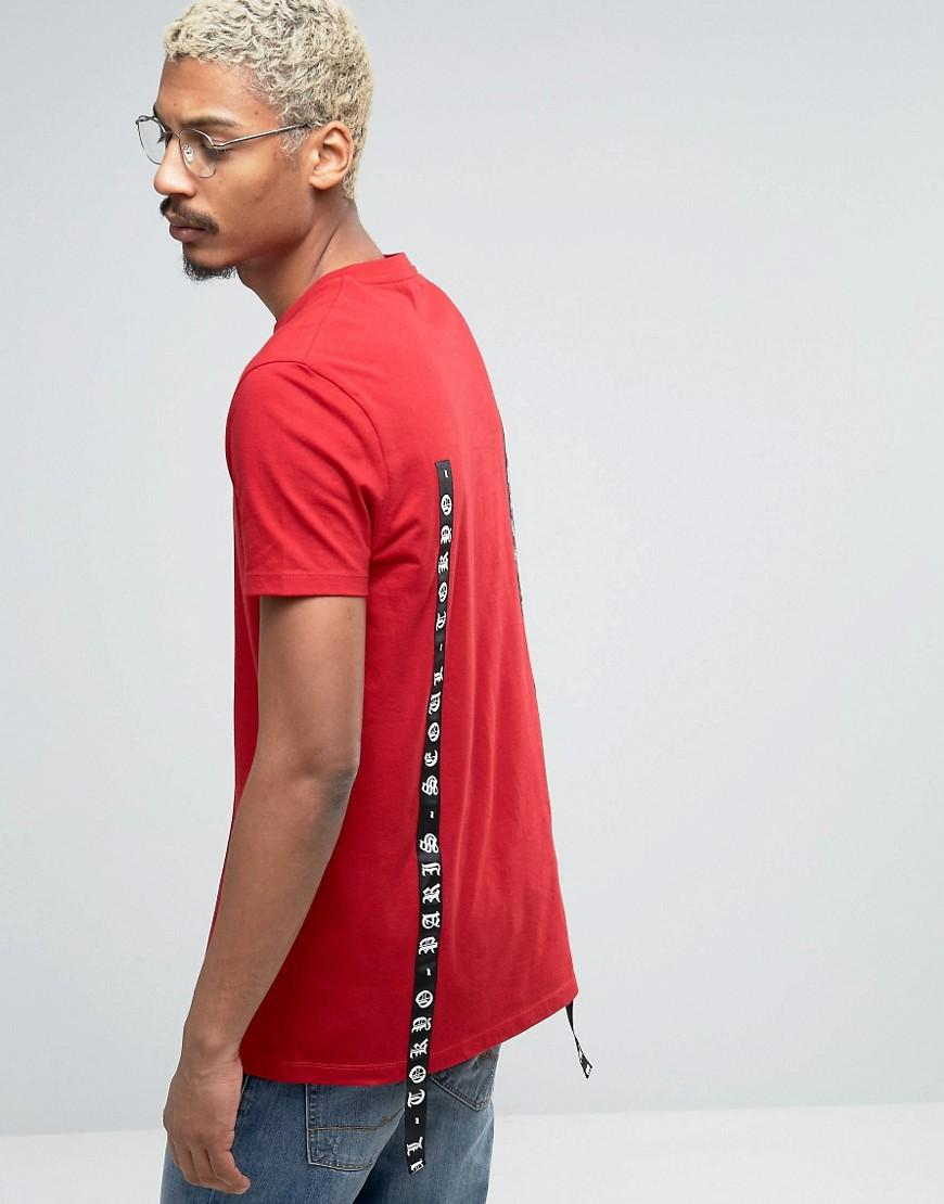 Asos Longline T Shirt With Printed Tape Design In Red For