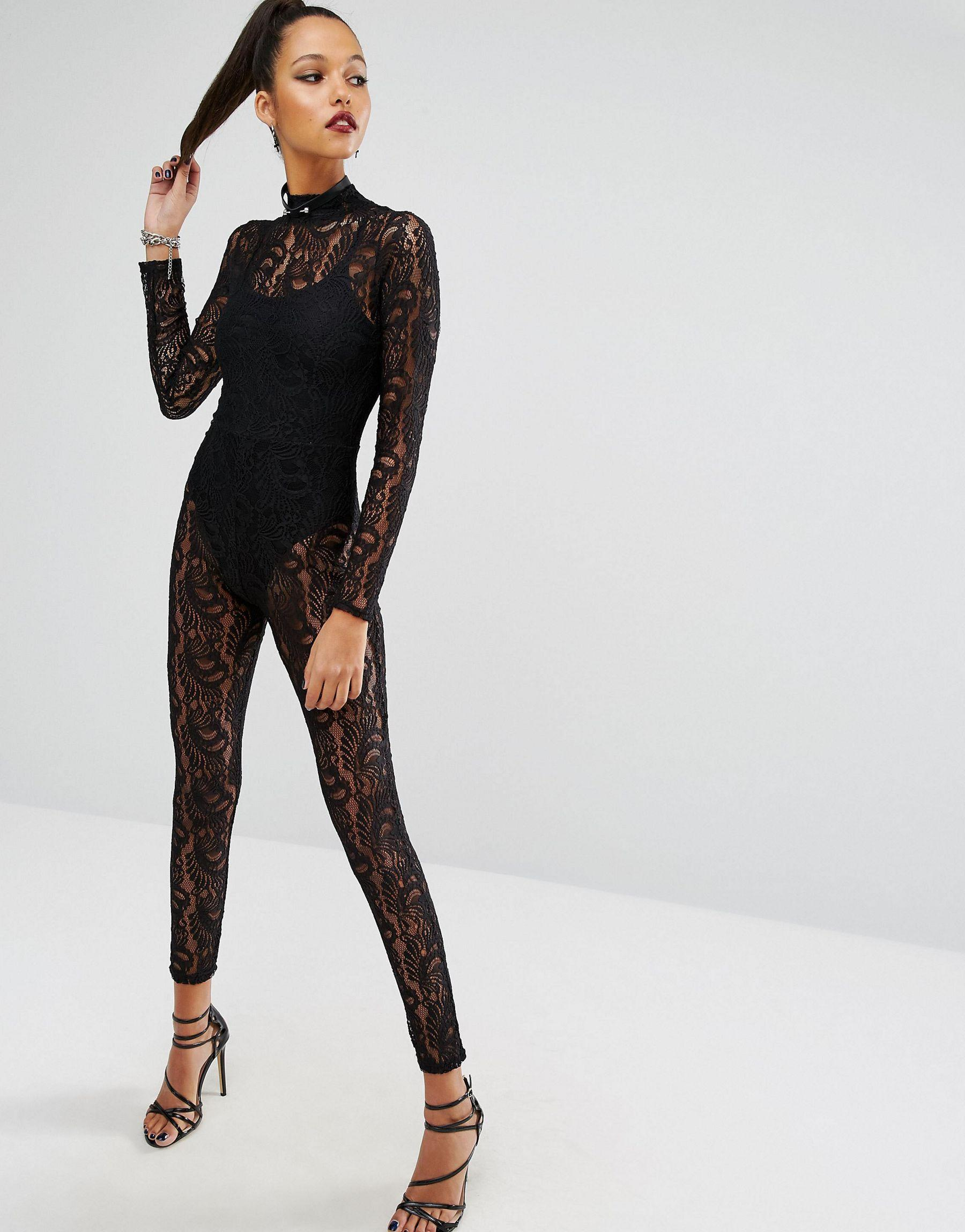 Missguided Lace Unitard in Black | Lyst