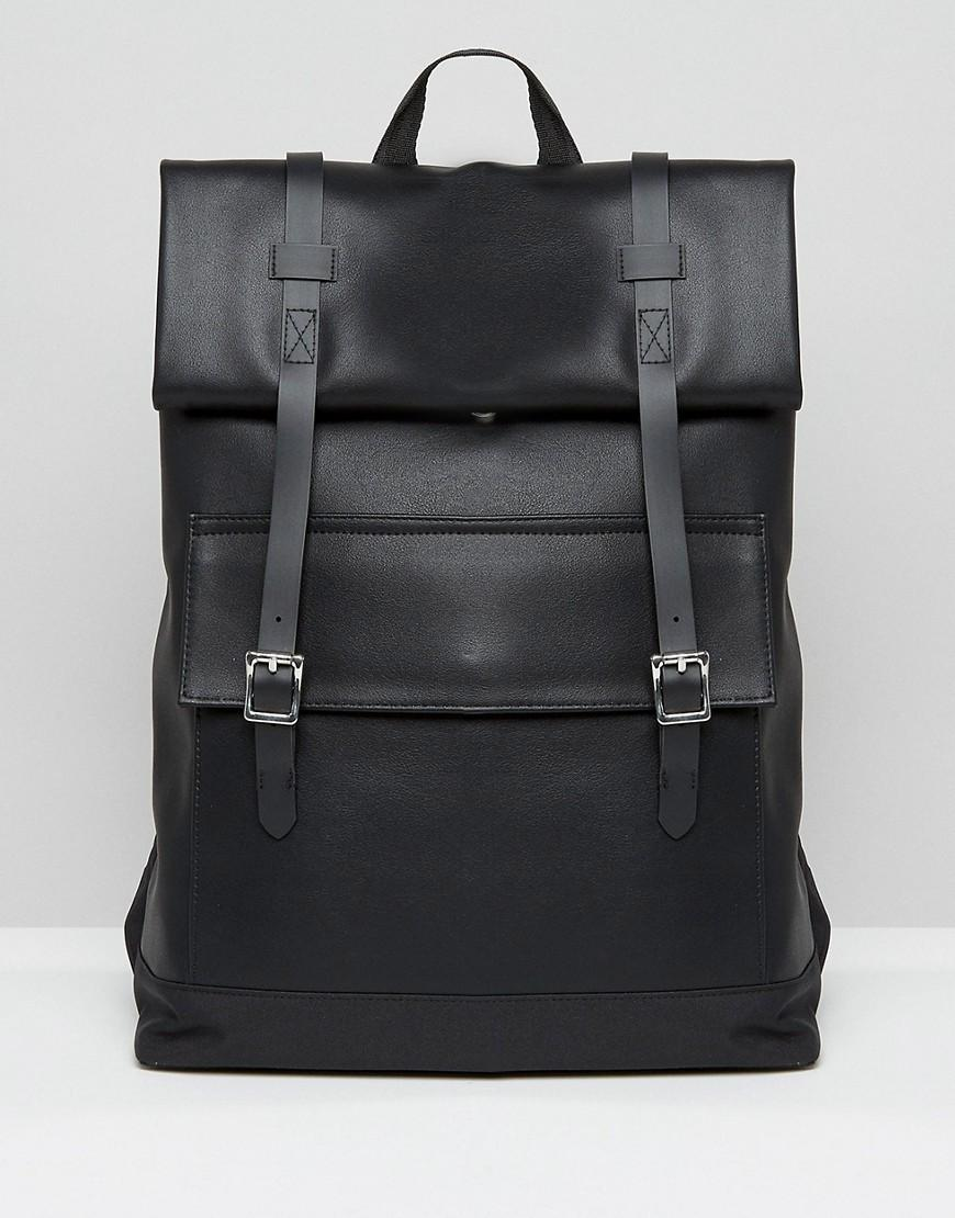 Asos Smart Backpack In Faux Leather With Roll Top in Black ...