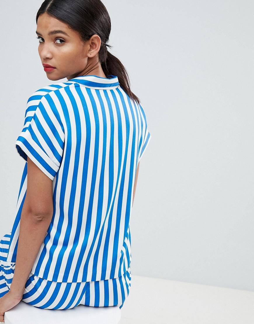 603c84cd80565d Lyst - Y.A.S Stripe Short Sleeve Blouse in Blue