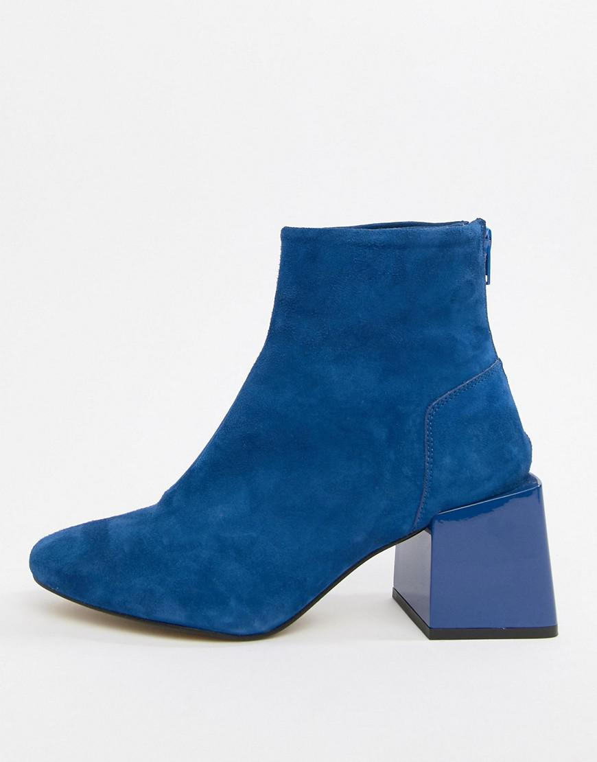 a0acae4c39b Lyst - ASOS Rome Leather Ankle Boots in Blue