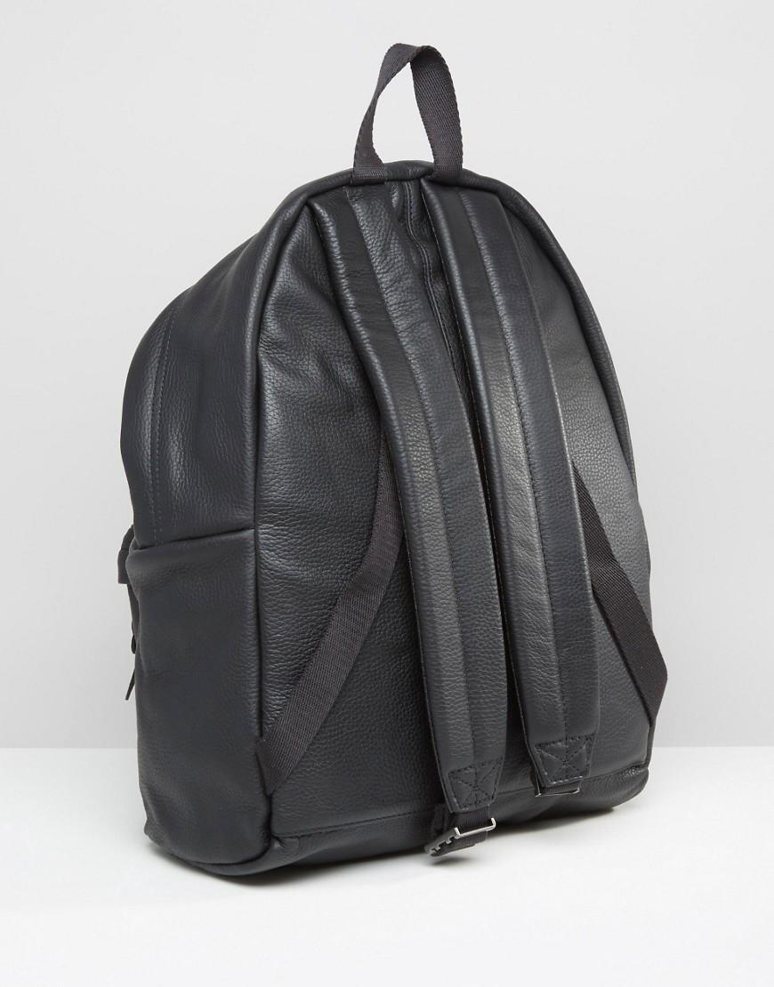 Leather Eastpak Backpack: Eastpak Padded Pak'r Leather Backpack In Black In Black