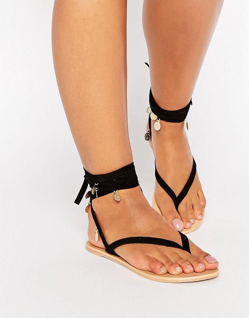 Asos Freesia Suede Coin Tie Leg Flat Sandals In Black Lyst