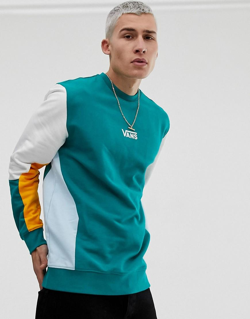 3e4657c9b3217b Vans Colour Block Sweatshirt In Green in Green for Men - Lyst