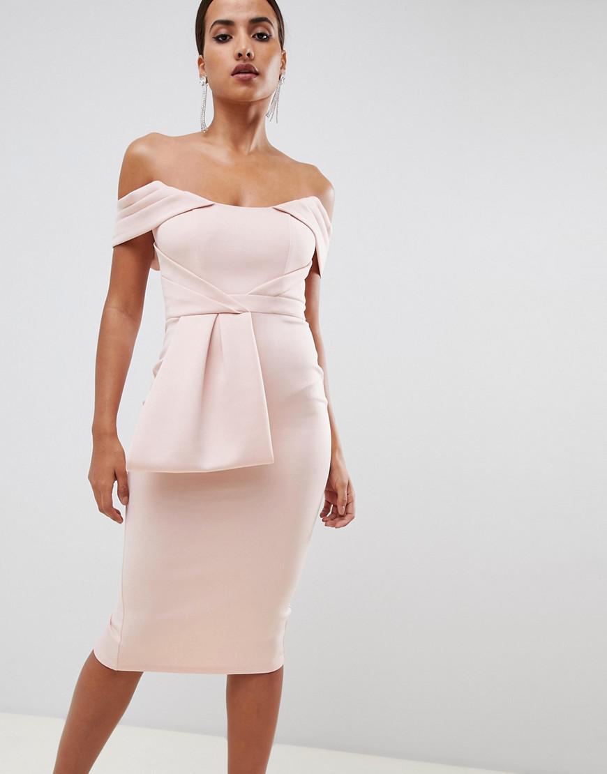 b7ddaa616f ASOS Bardot Peplum Midi Bodycon Dress in Pink - Lyst