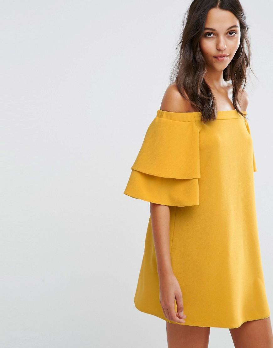 9b3b73ba3e5c5 Boohoo Off The Shoulder Shift Dress - Mustard in Yellow - Lyst