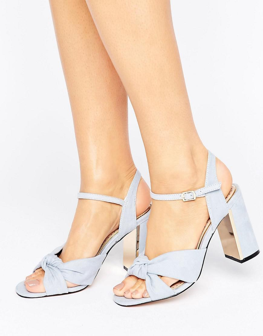 miss kg grace knot heeled sandals in blue lyst White Heels gallery