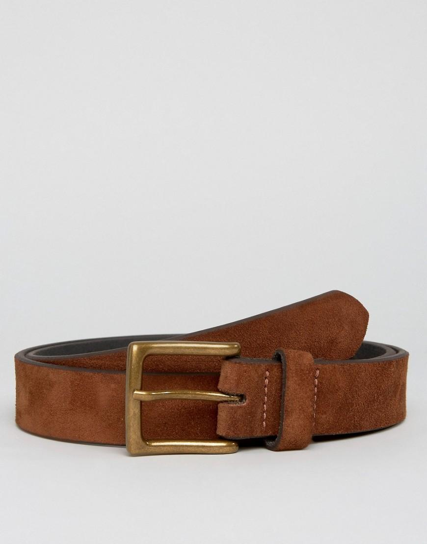 asos wide suede belt in in brown for lyst