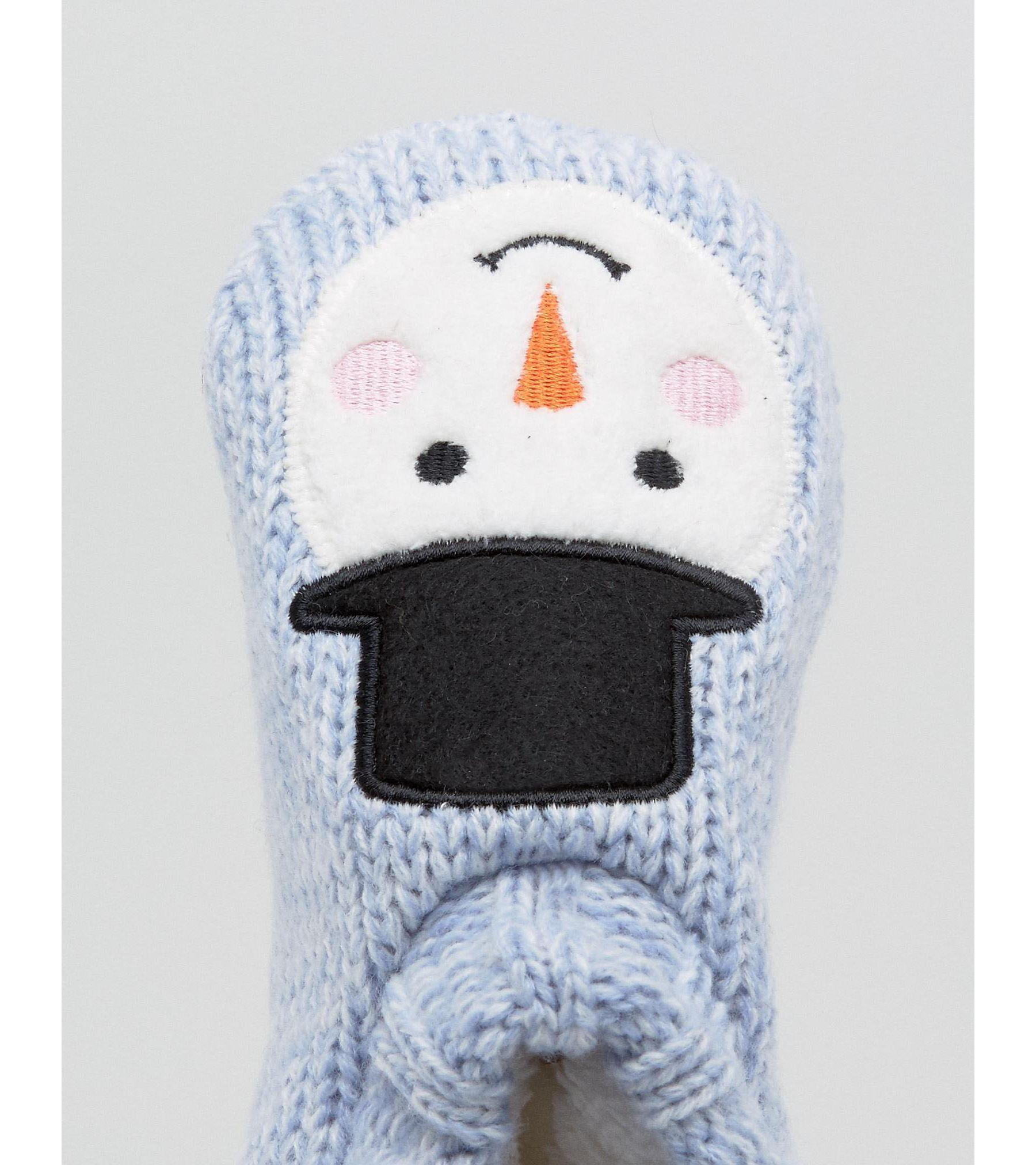 02567c7c833 Lyst - New Look Christmas Snowman Slipper Boot in Blue