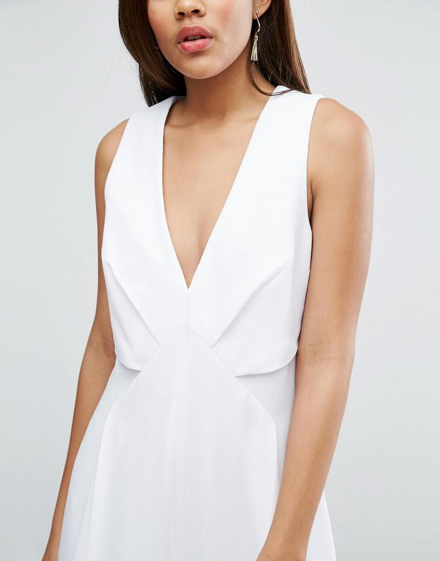 asos jumpsuit with origami detail and culotte leg in white