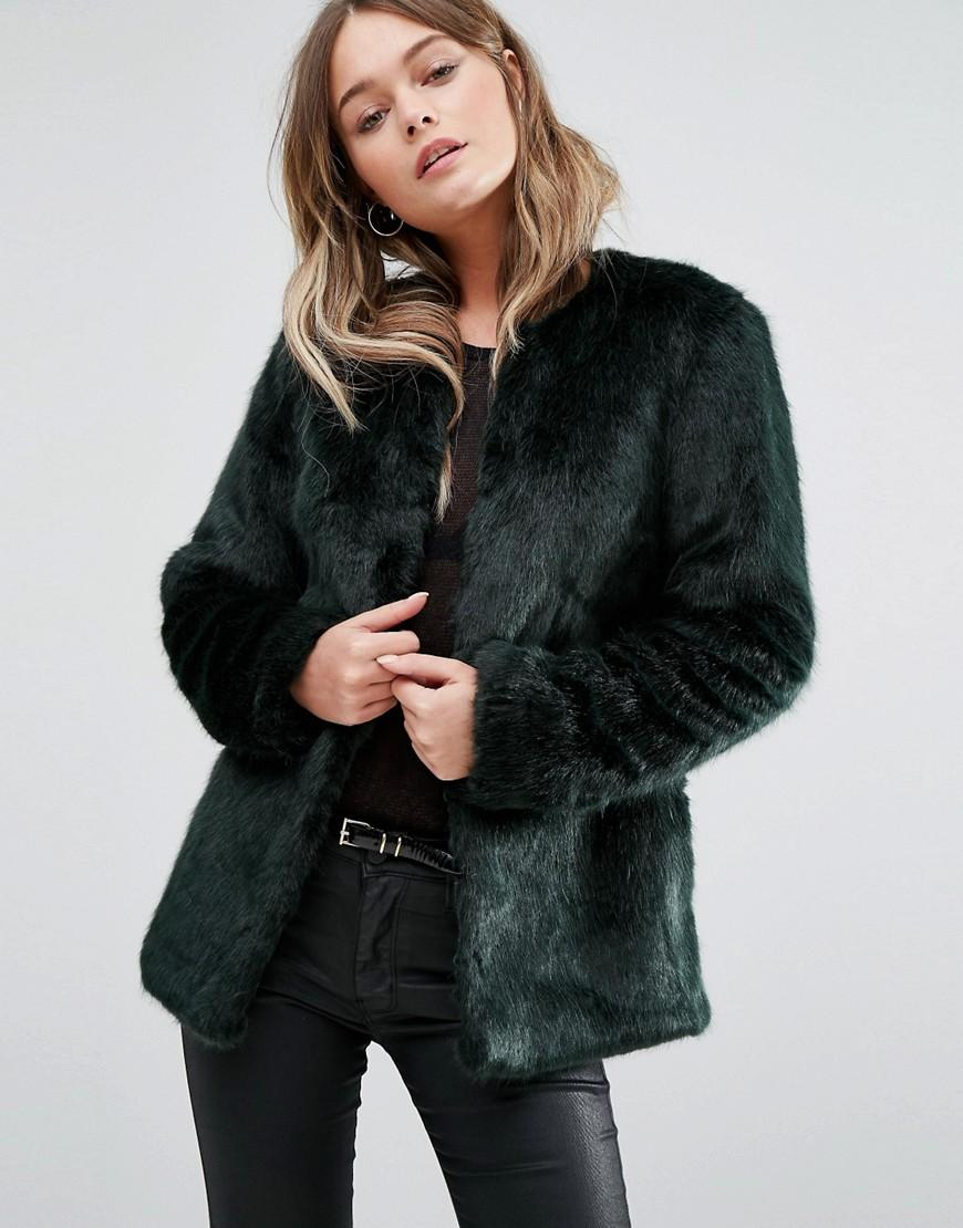 New Look Collarless Faux Fur Coat In Green Lyst
