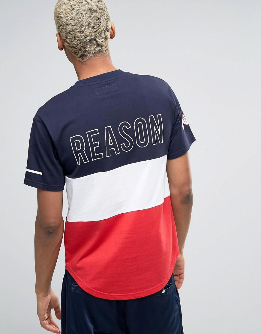 lyst reason panel tshirt with logo back print in blue
