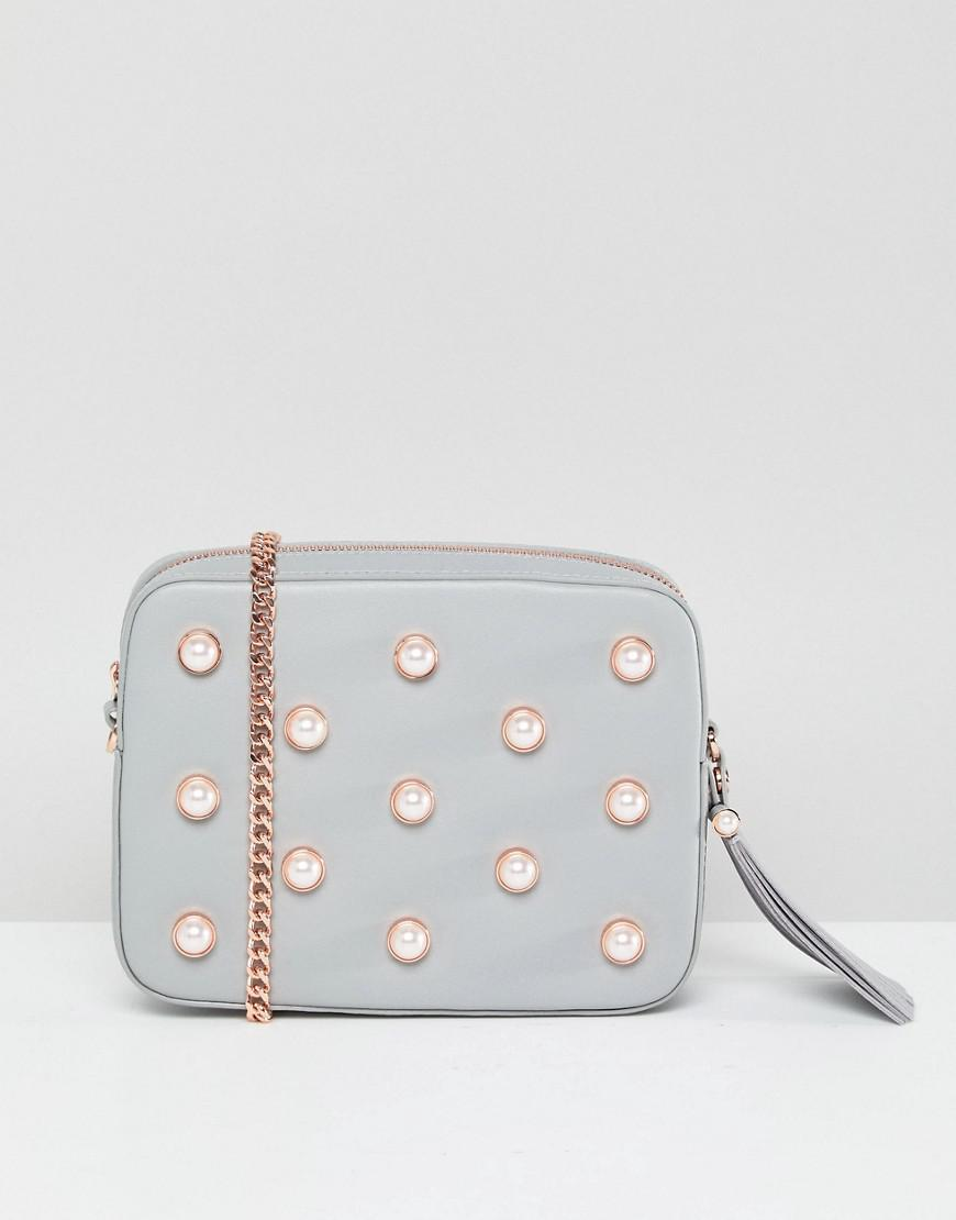 450a9a4bb3de6 Ted Baker Pearl Embellished Camera Bag In Leather in Gray - Lyst