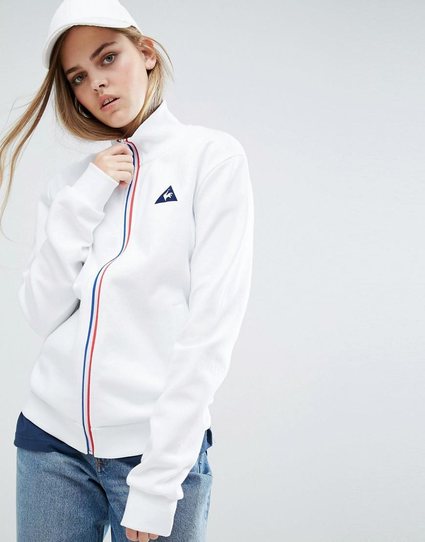 le coq sportif sweat bomber jacket with tricolores zip in white lyst. Black Bedroom Furniture Sets. Home Design Ideas