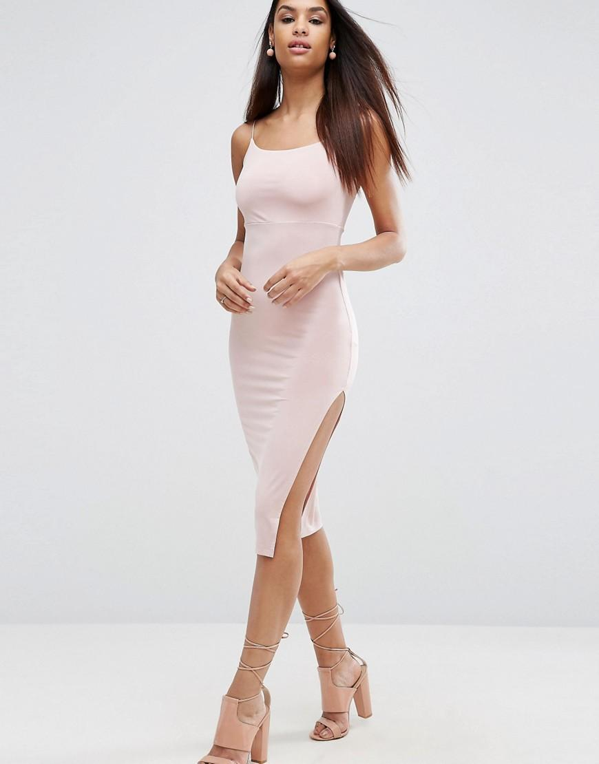 Asos Slinky Midi Dress With Strappy Tie Back in Metallic ...
