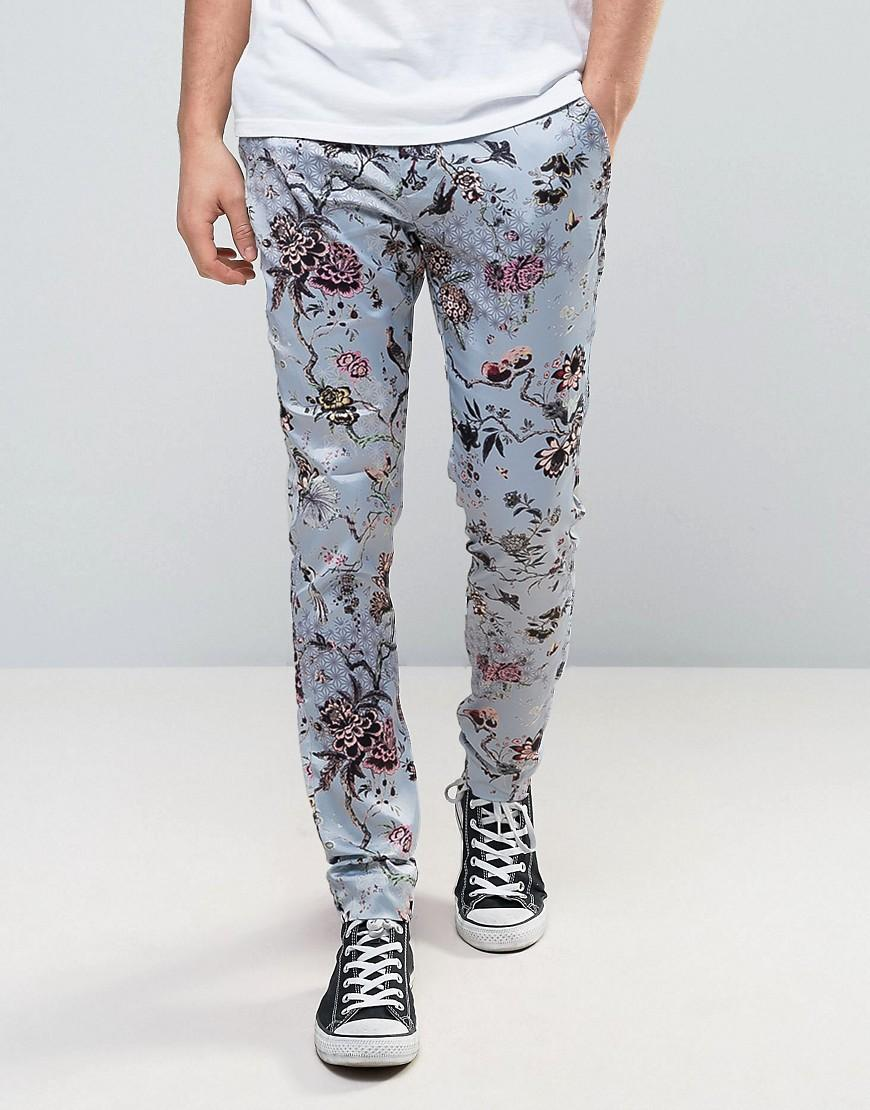 Asos Super Skinny Floral Trousers In Sateen Fabric in Blue ...