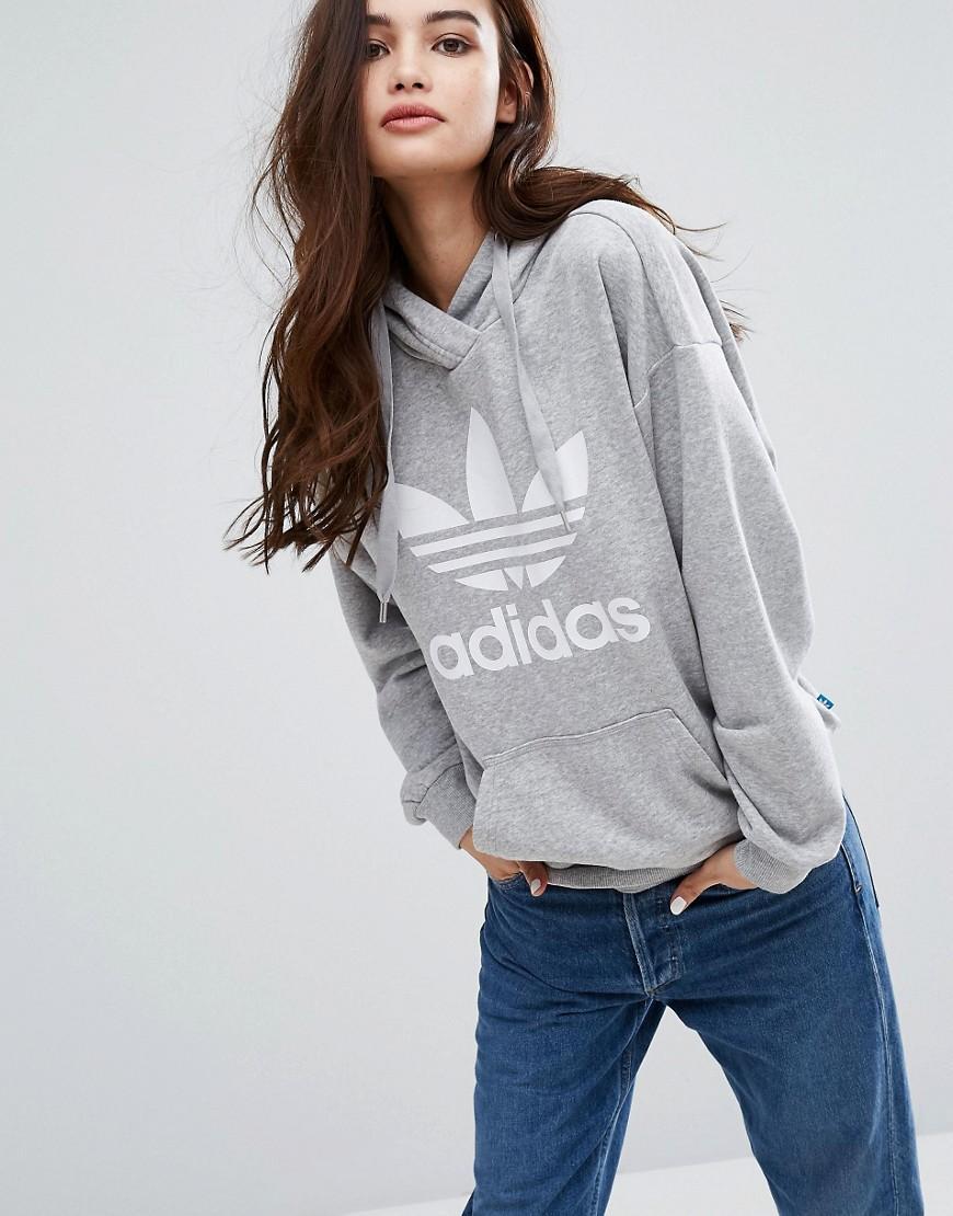 Adidas originals Originals Gray Trefoil Hoodie in Gray | Lyst