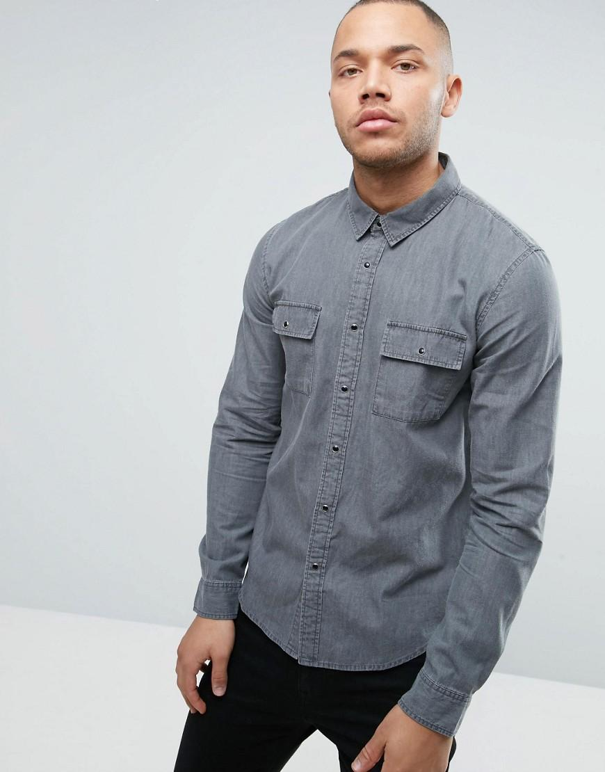 Another influence denim work shirt jacket in gray for men for Mens denim work shirt