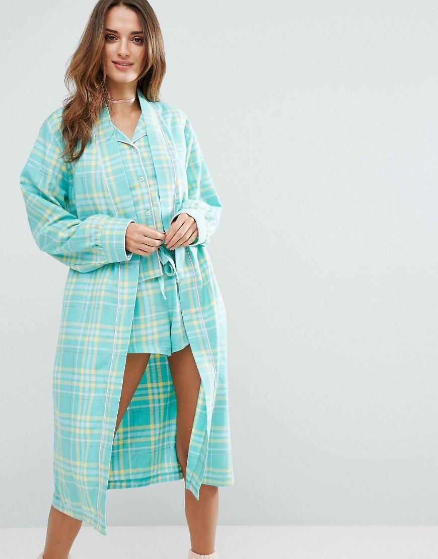 Chelsea Peers Woven Checked Robe In Green Lyst