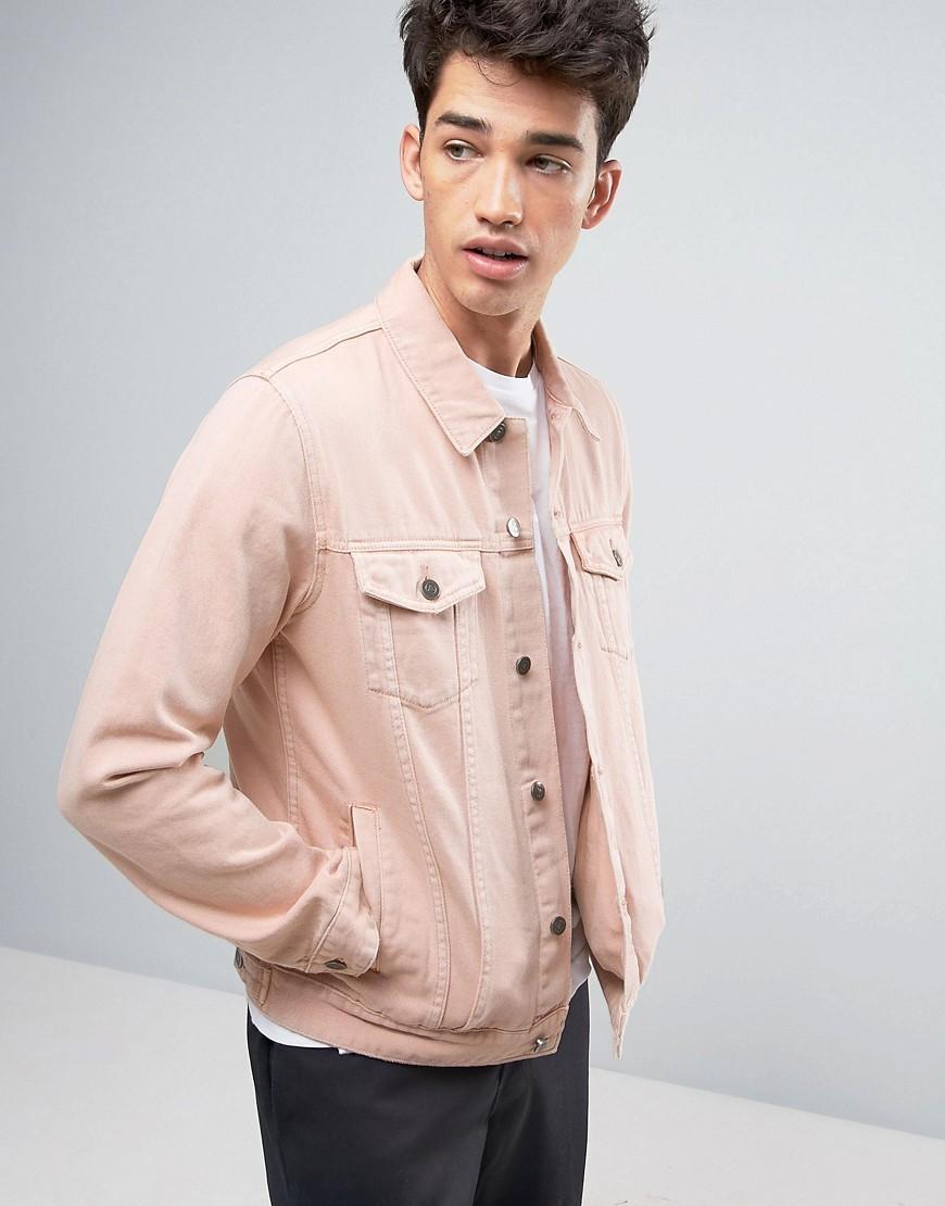 Lyst - Asos Denim Jacket In Washed Pink in Pink for Men